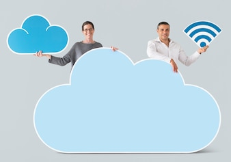 People holding cloud and technology icons