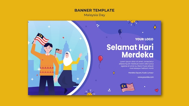 Люди держат малайзийские флаги баннер веб-шаблон