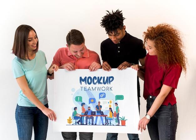 People looking at teamwork mock-up