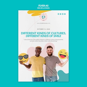 People with emojis flyer template Free Psd