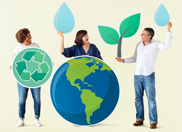 People with environment and recycling icons