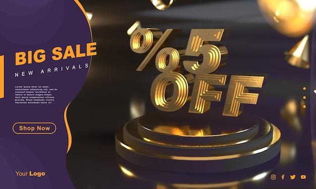 Шаблон баннера с золотой распродажей процентов 5 над золотым постаментом с темным фоном