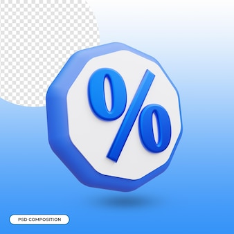 Percent icon isolated in 3d rendering