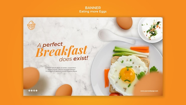 Perfect breakfast with eggs banner template