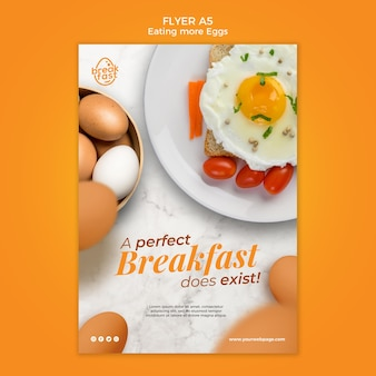 Perfect breakfast with eggs flyer template