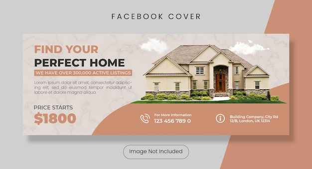 Perfect home for sale facebook cover template