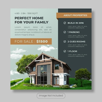 Perfect home for sale instagram post template banner