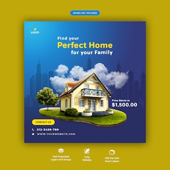 Perfect home for sale social media banner template