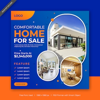 Perfect home for sale social media & web banner template