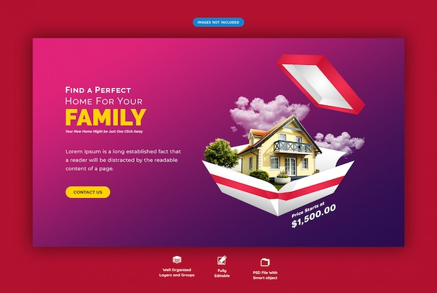 Perfect home for sale web banner template