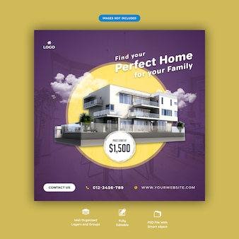 Perfect house for sale social media square banner template