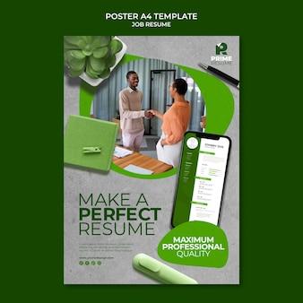 完璧な仕事の履歴書のポスターテンプレート