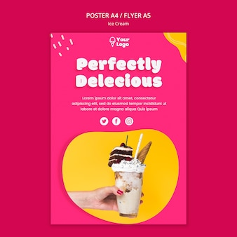 Perfectly delicious ice cream poster template