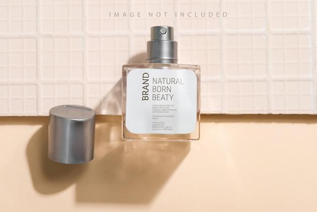 Perfume bottle, fragrance spray mockup with sunlight,