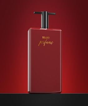 Perfume bottle logo mockup on abstract red background