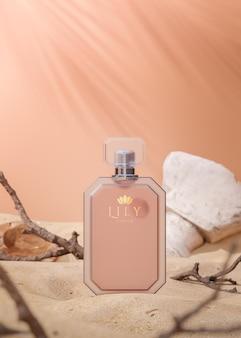 Макет логотипа флакона духов для презентации бренда на фоне песчаных дюн пустыни 3d визуализации