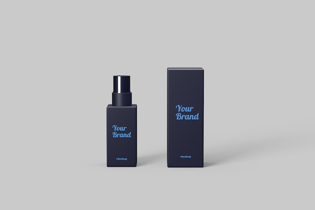 Perfume bottle and packaging mockup