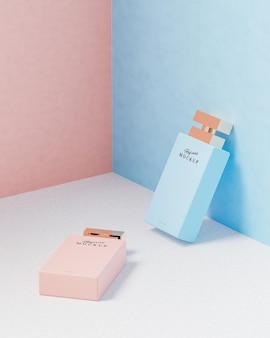 Розово-синий роскошный макет логотипа флакона духов для презентации бренда