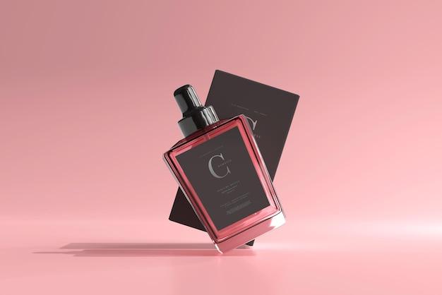 Perfume bottle with box mockup