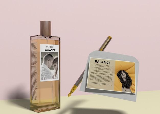 Perfume bottle with descriptive card