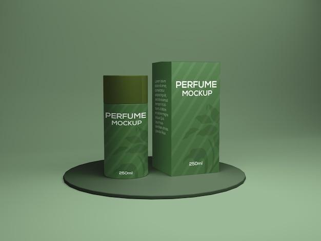 香水箱とボトルのパッケージのモックアップデザインpsd