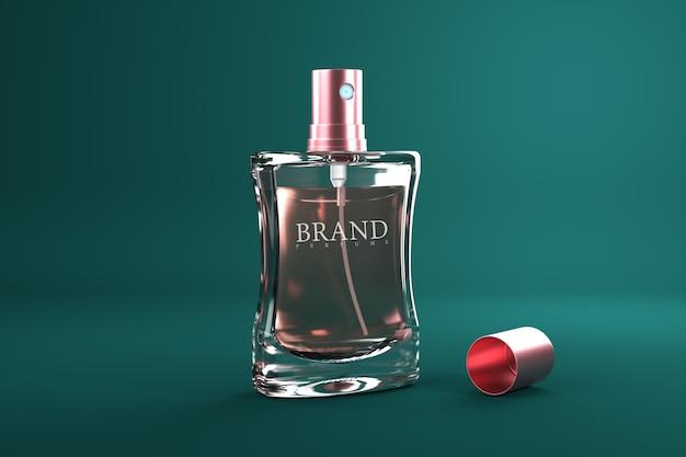 Макет 3d рендеринга парфюмерной упаковки