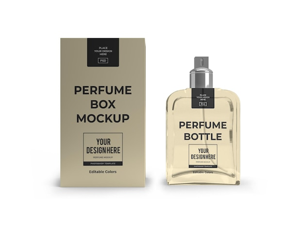 Perfume packaging mockup template isolated