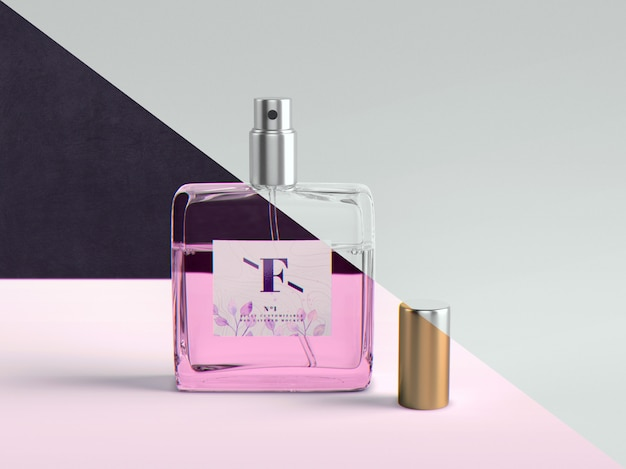 Perfume and packaging mockup