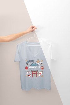 Person holding a japanese t-shirt mock-up