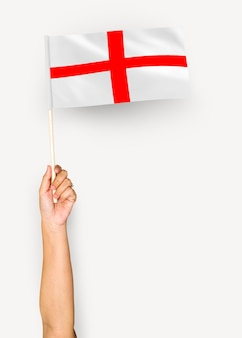 Person waving the flag of england