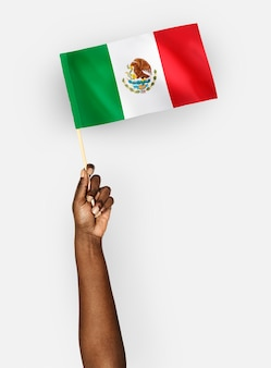 Person waving the flag of united mexican states