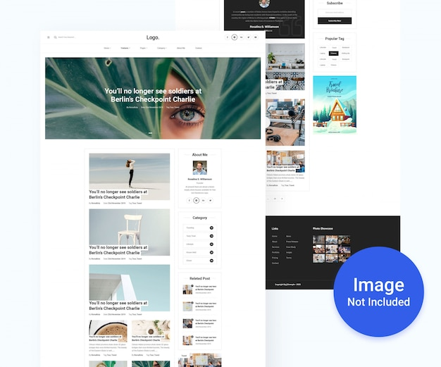 Personal blog and magazine psd template