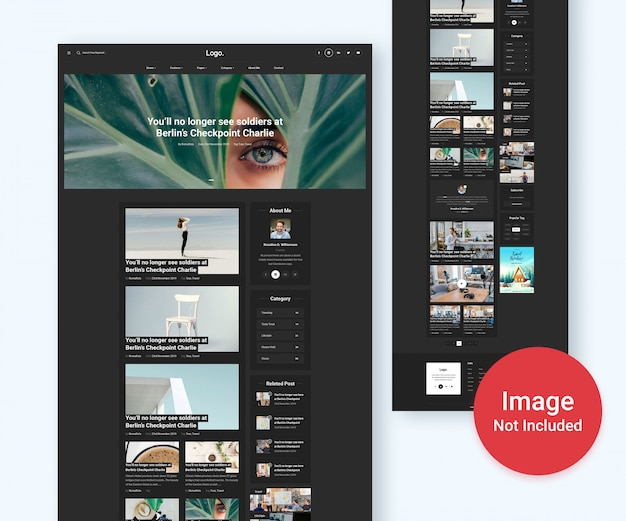 Personal blog and magazine website psd template