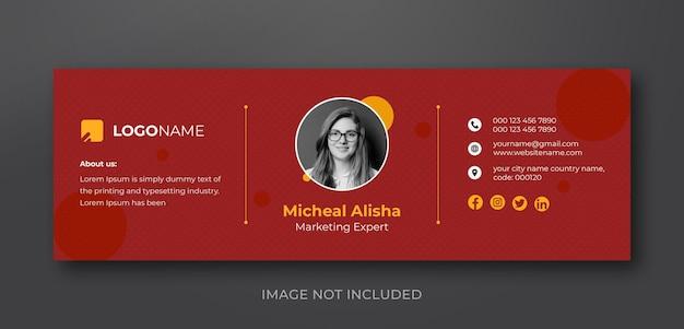 Персональный минималистичный дизайн шаблона подписи электронной почты или персональный шаблон обложки в социальных сетях