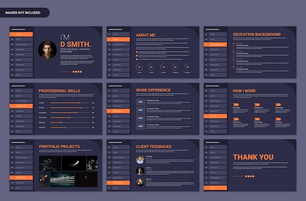 Personal resume and cv web presentation slide template
