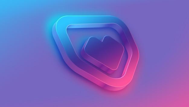 Perspective 3d flow logo mockup