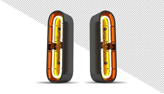 관점 알파벳 네온 빛 3d 렌더링 그림.