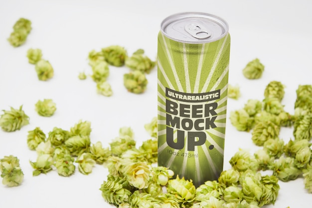 Perspective beer can mockup