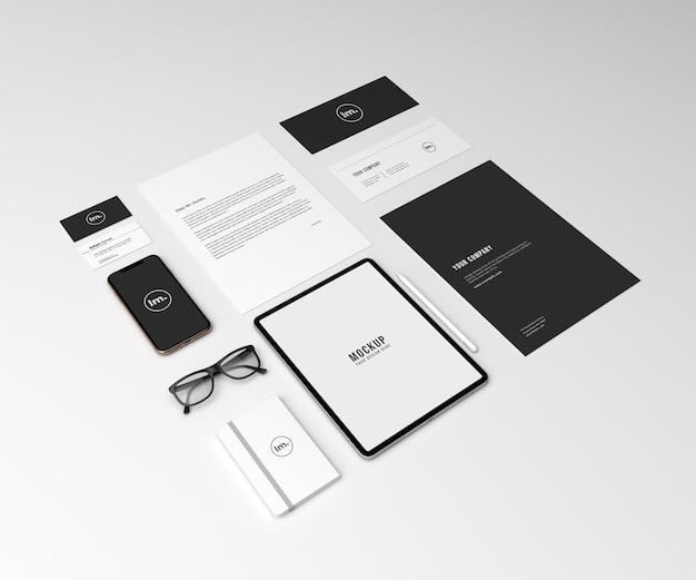 Perspective corporate branding identity mockup set