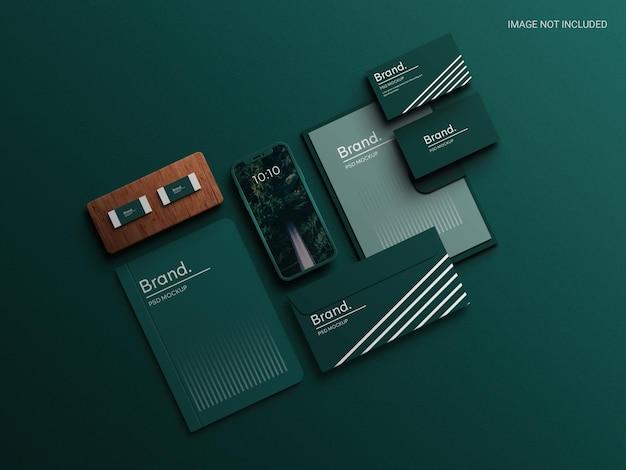 Perspective corporate stationery set mockup scene creator realistic corporate brand identity mockup