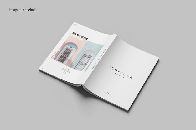 Perspective cover magazine mockup design isolated