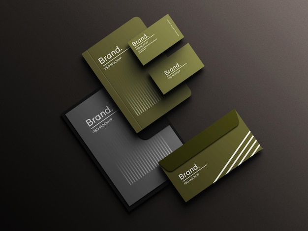 Perspective green color stationery branding corporate identity top view mockup scene creator