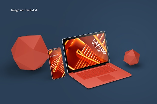 Perspective laptop and smartphone mockup