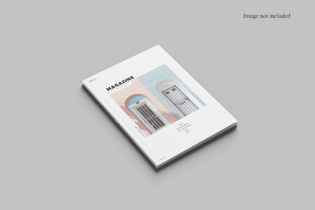 Perspective magazine mockup design isolated