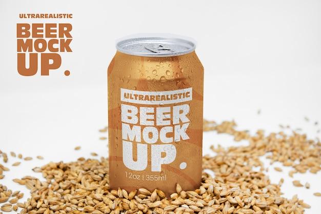 Perspective malt beer can mockup