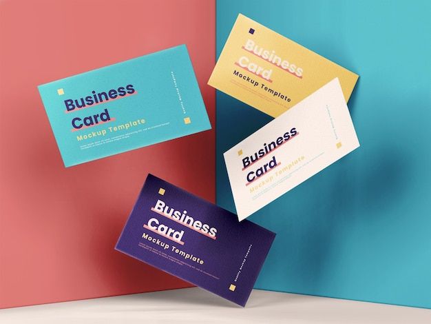 Perspective modern business card mockup template