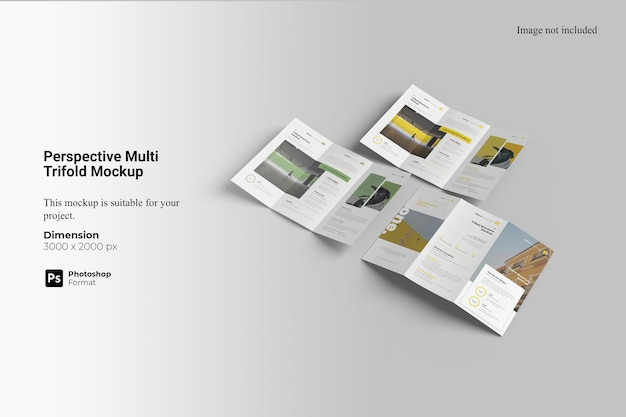 Perspective multi trifold mockup