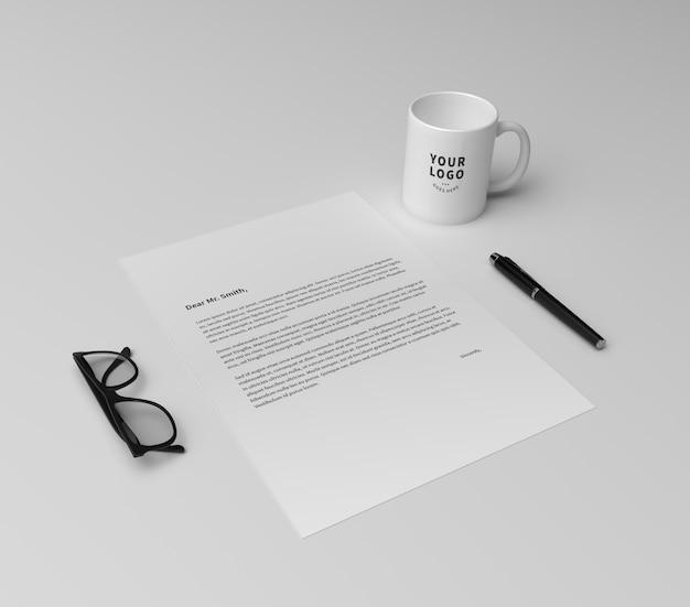 Perspective paper with coffee mug mockup