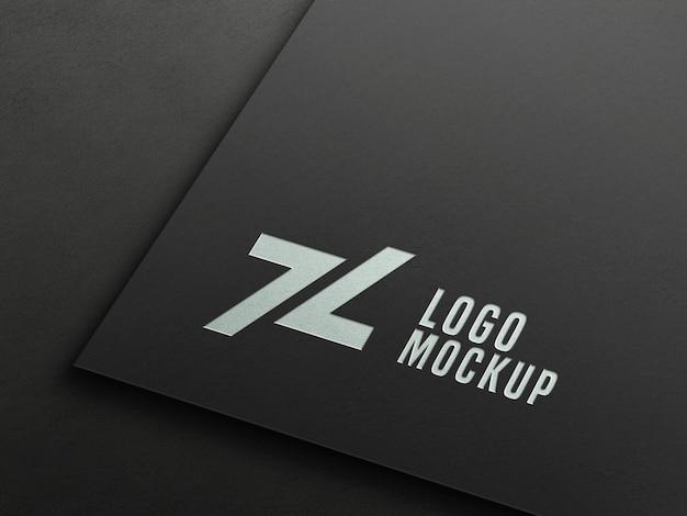 Перспективный макет логотипа с тиснением серебряной фольгой