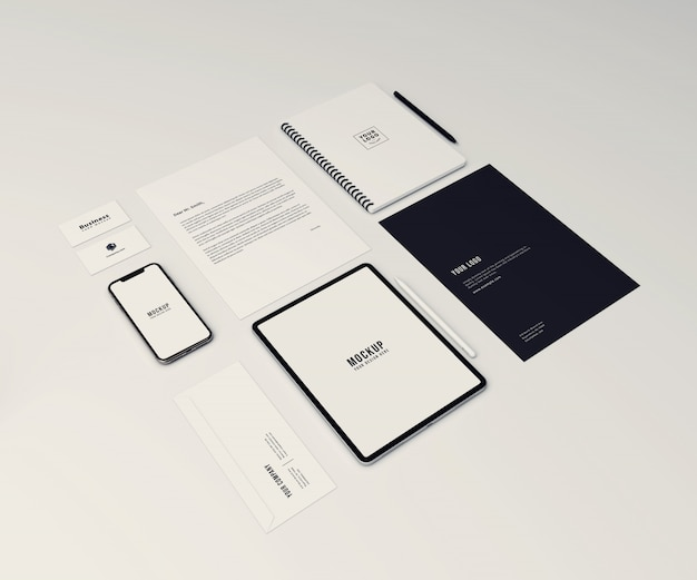 Perspective stationary and branding mockup